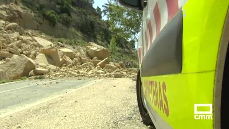 Un desprendimiento de rocas cortará durante días una carretera en Cuenca
