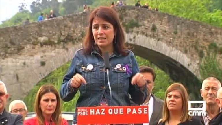 PSOE: Adriana Lastra, en Asturias, afirma que la derecha viene
