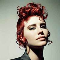 Red Curly Up do Hairstyle