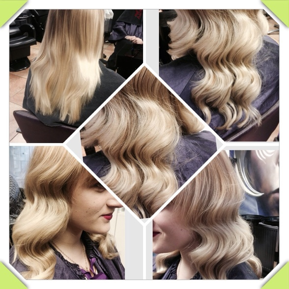 Cool blond with finger waved effect