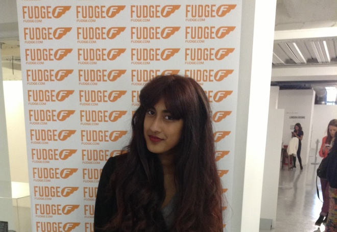 My model at fudge in London