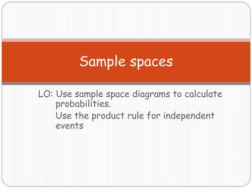 Sample Space Diagrams And Product Rule For Independent Events Tpt