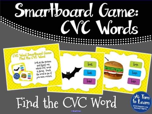 CVC Words: Find the CVC Word Game (Smartboard/Promethean Board)