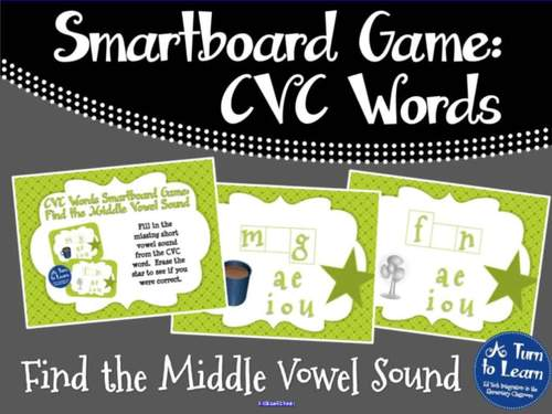 CVC Words: Find the Short Vowel Sound Game (Smartboard/Promethean Board)
