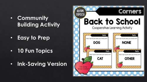Back to School: Corners ~ Cooperative Learning Activity