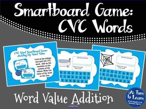 CVC Words: CVC Word Value Addition Game (Smartboard/Promethean Board)