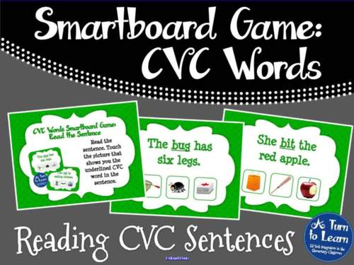 CVC Words: Reading CVC Sentences Game (Smartboard/Promethean Board)