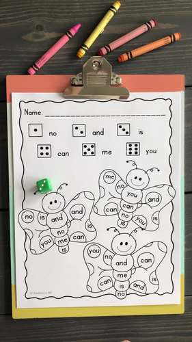 Sight Words: Roll, Read, and Color: Butterflies  25 High Frequency Words; F & P