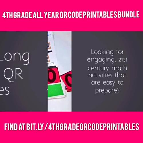 4th Grade All Year Long MATH QR Code Printables Bundle - Low Prep!