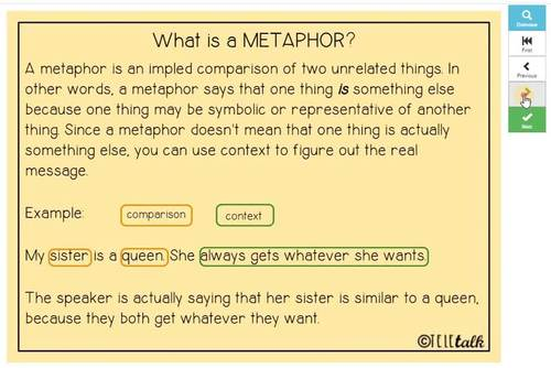 Figurative Language: Metaphors and Similes In Context BOOM CARDS™
