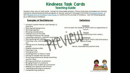 Kindness Activity:  Social Skills Task Cards