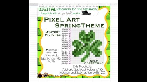 Mystery Pictures Spring, Pixel Art, Addition Subtraction, Math, Google, Digital