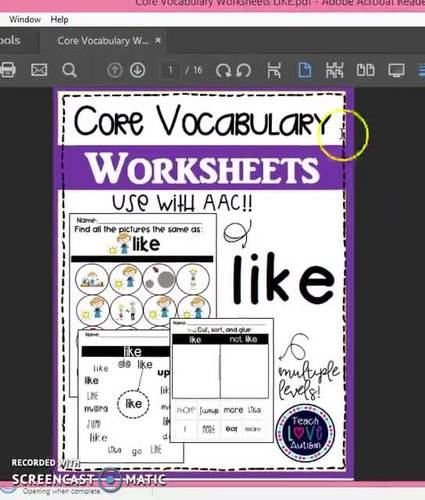 Core Vocabulary Worksheets: LIKE