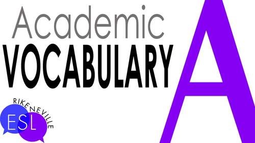 Academic Vocabulary 3 with Activities and Worksheets