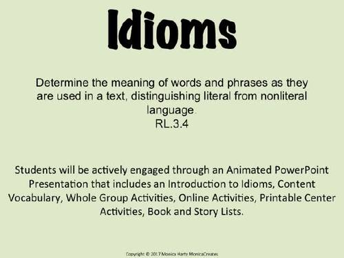IDIOMS (Figurative Language ) I Have, Who Has? Game /Activity
