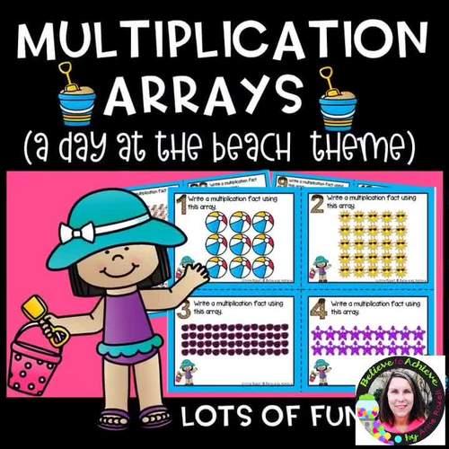 Multiplication Array Task Cards- A Day at the Beach Theme