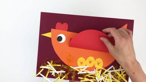 Geometric paper chicken craft