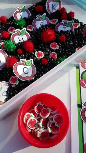 Apple Theme Seek and Find - Sensory Bin Letter and Number Identification