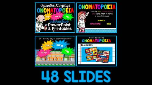 Onomatopoeia PowerPoint and Worksheets Figurative Language