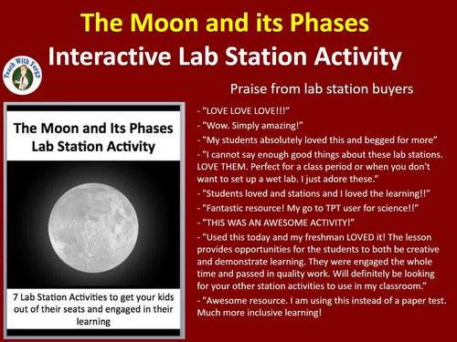 The Moon and its Phases - 7 Engaging Lab Station Activities