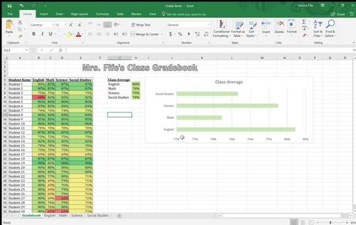 Back to School Excel Gradebook With Data Features (Editable)