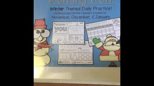 Kindergarten Morning Work: Winter Theme (November, December & January)