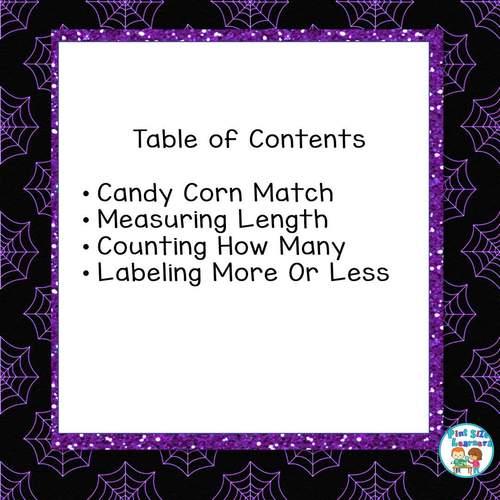 Kindergarten Halloween Math ~ Measurement,  More, Less, the Same, Add 1 More