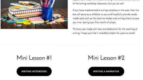 Back to School Writing Workshop Mini Lessons Box