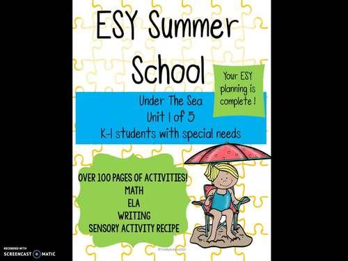 ESY Summer School Unit 1 Under the Sea