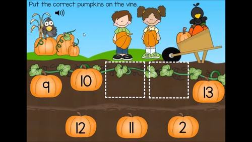 Missing Numbers, Counting On, Number Sequencing Fall Digital Boom Cards