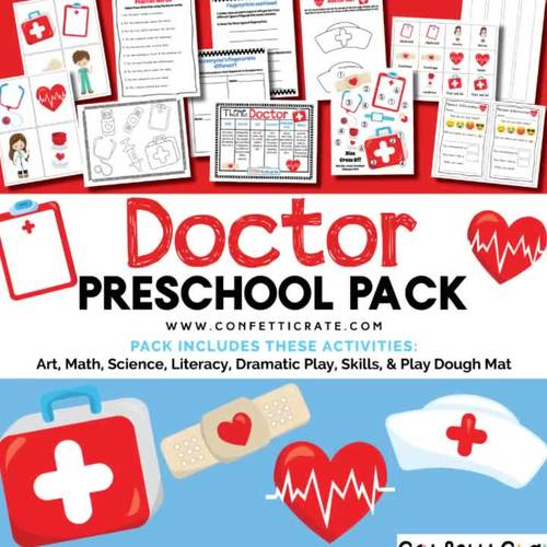 Doctor Activities Preschool (color and black & white version)