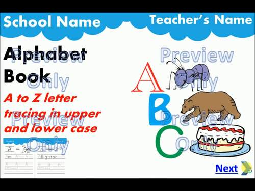 Alphabet Book Trace Upper & Lower Case PDF + Interactive PowerPoint for IWB
