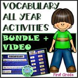 1st Grade VOCABULARY All Year Activities BUNDLE + VIDEO Le