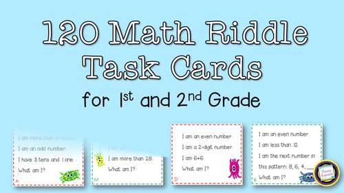 first and second grade math riddle task cards for the 120. Black Bedroom Furniture Sets. Home Design Ideas