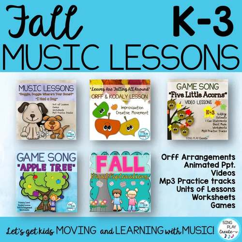 Fall Music Class Lesson Bundle: Videos, Songs, Games, Kodaly and Orff Activities
