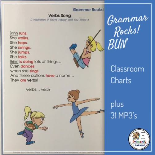 Grammar Songs! BUNDLE: 31 mp3's, & Classroom Charts Complement Jolly Grammar!