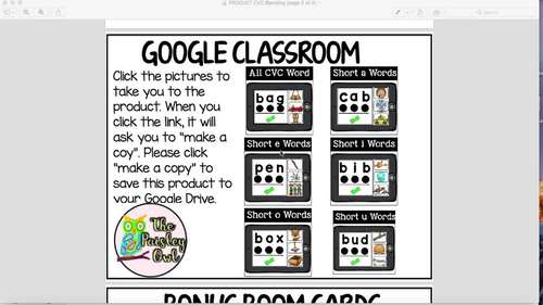 Google Classroom CVC Blending -- BONUS Boom Cards included (Digital Centers)