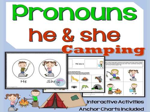 Pronouns: he and she summer camping