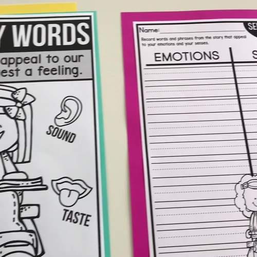 SENSORY WORDS AND FEELINGS 1st Grade RL1.4 (CCSS RL 1.4 & TEKS 1.11)