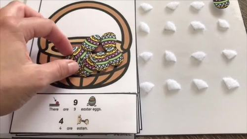 Easter Egg counting, adding and subtracting interactive book