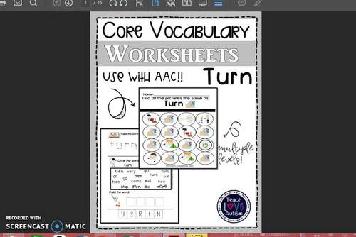 Core Vocabulary Worksheets: TURN