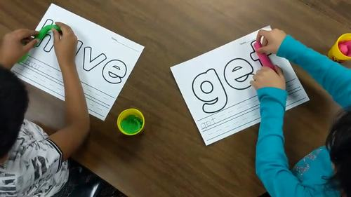 Second Grade Literacy Centers with Playdough {46 words!}