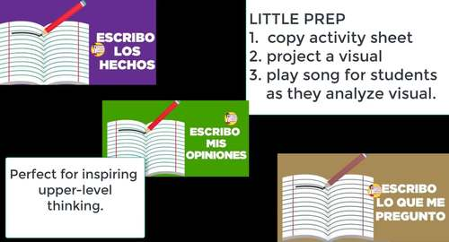 107 Spanish Higher Level Thinking and Writing with Musical Video
