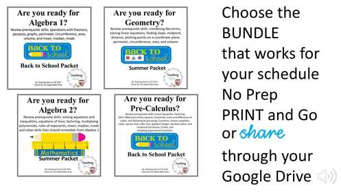 Algebra 1 & Algebra 2 Summer or Back to School Readiness Packets