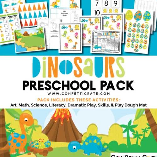 Dinosaur Activities Preschool (color and black & white version)
