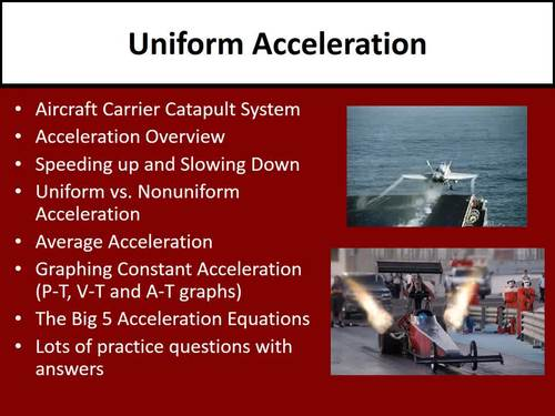 Uniform Acceleration - PowerPoint Lesson, Review Questions & Student Notes