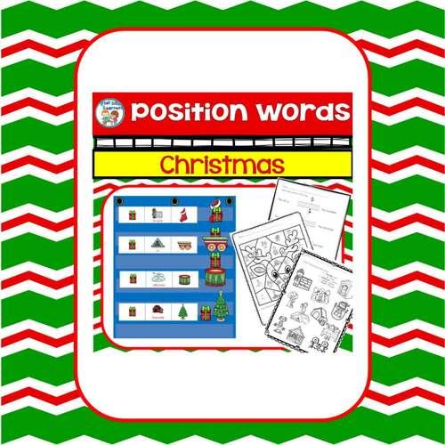 Positional Words for Kindergarten Christmas Center Activities