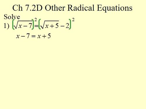 Other Radical Equations