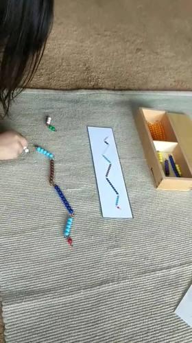 Making 10 with Montessori bead bars / snake game