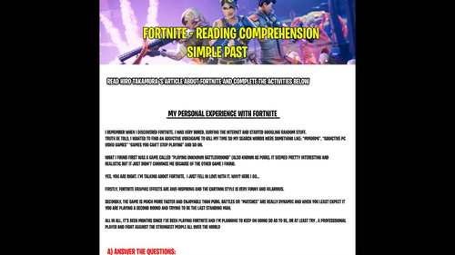 FORTNITE - SIMPLE PAST READING COMPREHENSION!